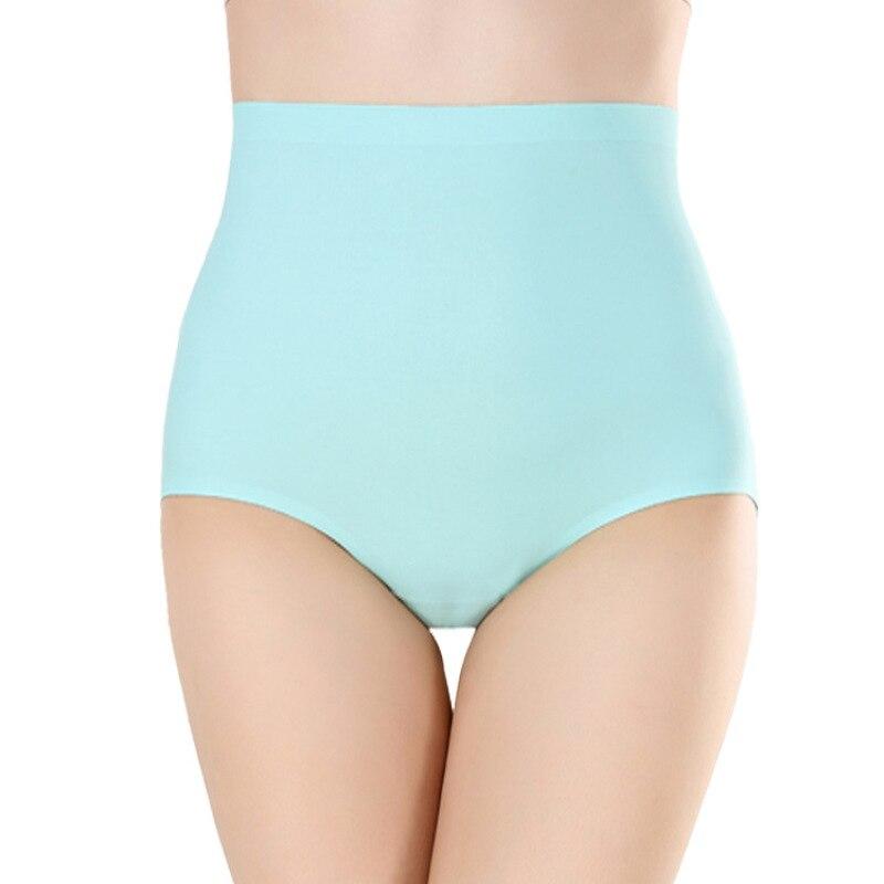 4XL Plus Size Ice Silk Panties for Plump Women High Waist Seamless Solid Underwear Large Size Soft Shapewear Abdomen Hips Breifs