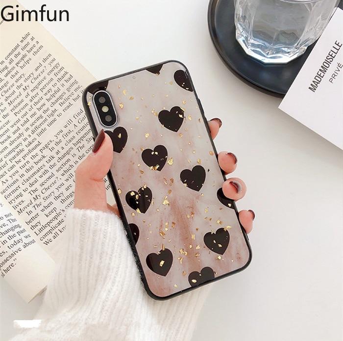 Gimfun Retro amor corazón Tpu hoja de aluminio funda para iPhone x Xs Xr Xsmax 6 6s 6plus 7 8 plus silicona suave Tpu funda trasera del teléfono