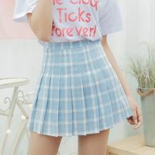 Womens Skirts Japan Punk Kawaii High Waist Plaid Lattice Casual Pleated Skirt Female Korean Harajuku Cute Clothing For Women