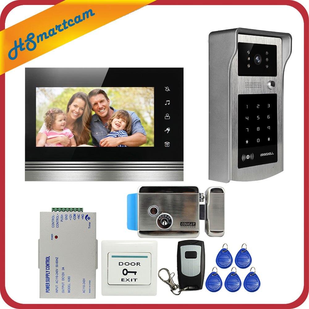 7 дюймов Цвет сенсорный Экран видео телефон двери домофон комплект + открытый RFID