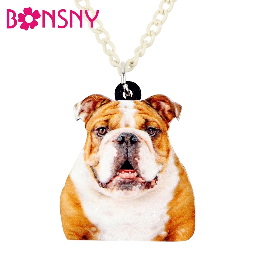 Bonsny Acrylic Cartoon English British Bulldog Necklace Pendant Chain Choker Collar Animal Jewelry For Women Girls Ladies Bulk