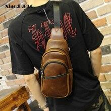 Xiao.P Crazy Horse PU Leather Summer Bag Men Chest Pack Messenger Bag Travel Crossbody Bag Casual Shoulder Bag