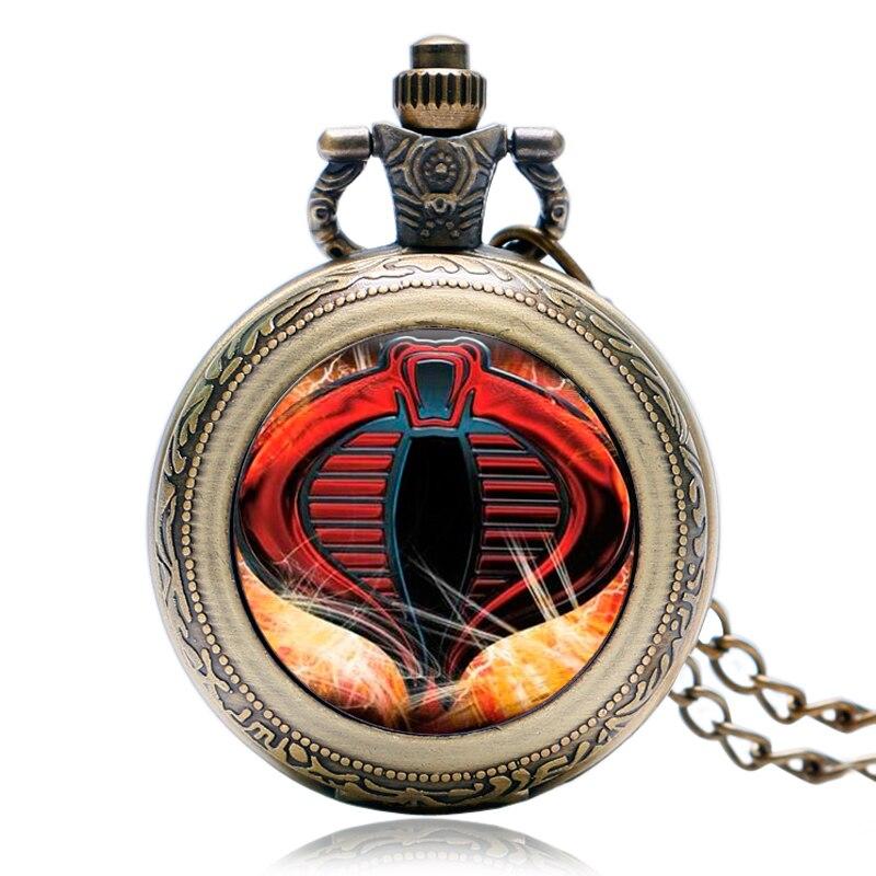 Caso Rotativo do vintage Bronze Moda Quartzo Relógio de Bolso Moderno Relógio Cobra Cobra Colar Presentes de Natal Das Crianças Das Crianças do Menino
