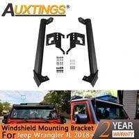 auxtings 52 inch led work light bar steel upper windshield mounting bracket wlower corner brackets for jeep wrangler jl 2018
