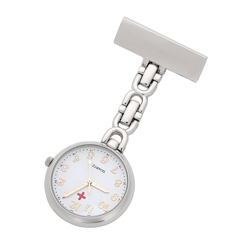 Enfermeiros Relógio Pin 24hr Tempo Militar Assista Rose Ouro Numerais de Controle de Infecção Enfermeiros Broche Pingente de Bolso Cruz Vermelha Relógio