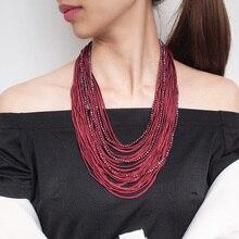 Collar de declaración multicapa bohemio para mujer, gargantilla de cuentas de cristal a la moda con cinta, collares, joyas de cuello UKEN