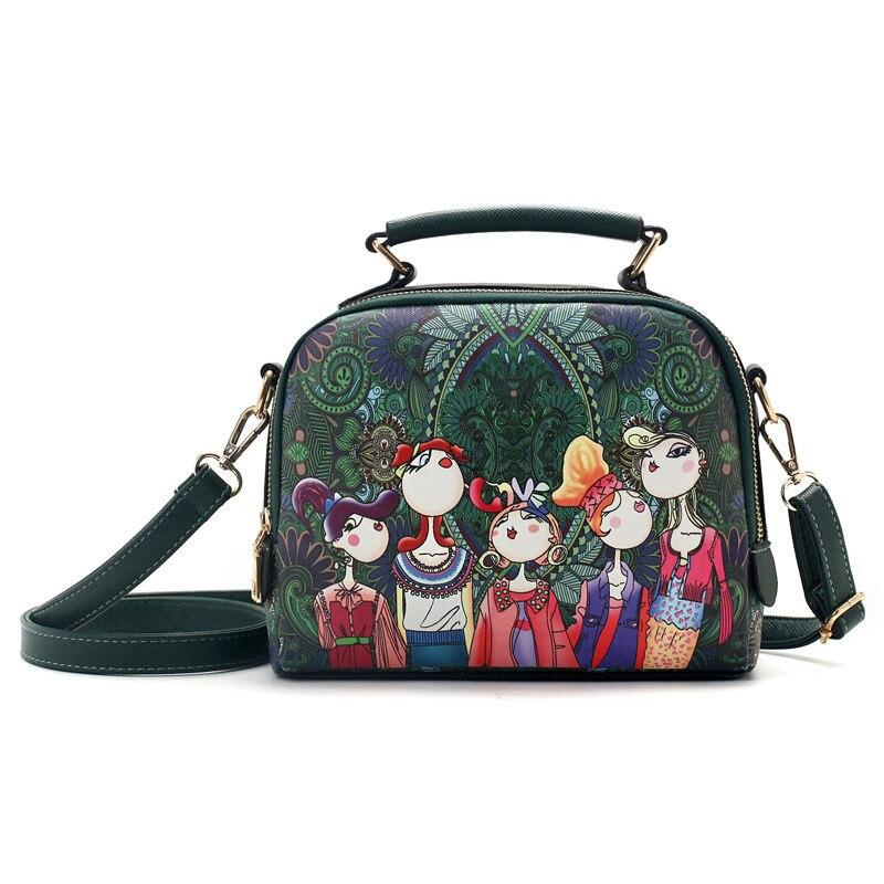حقيبة يد جلدية خضراء كرتونية للنساء ، ماركة فاخرة ، جودة عالية ، حقيبة كتف ، مجموعة جديدة