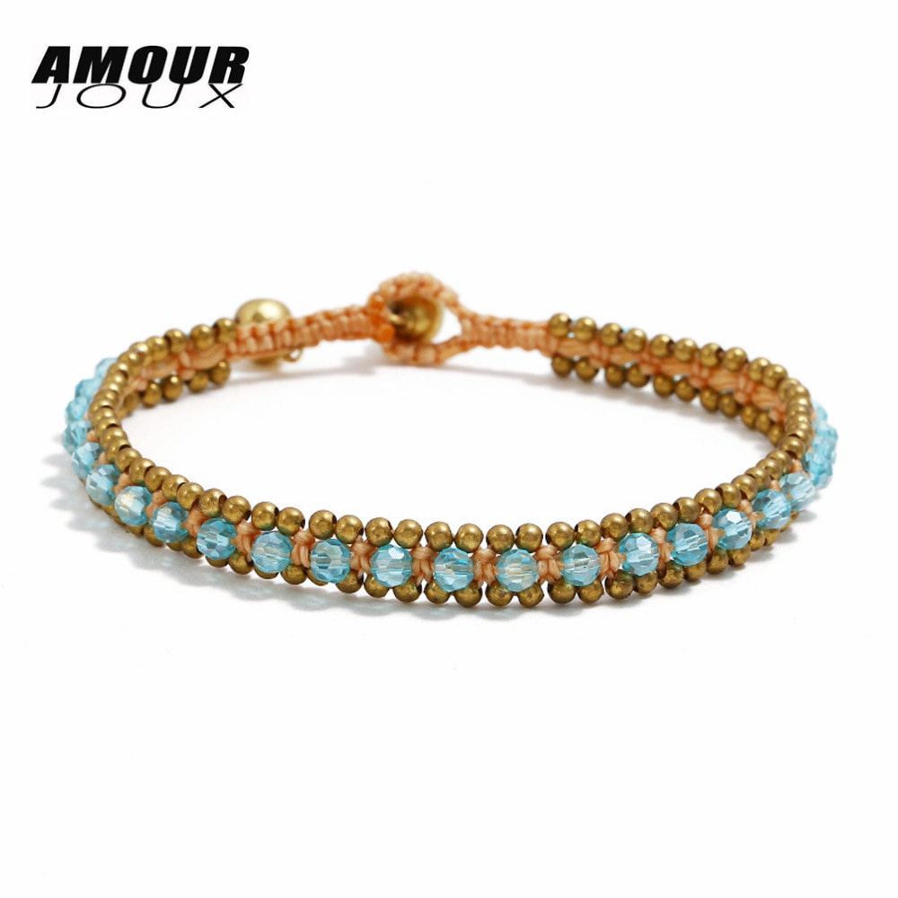 AMOURJOUX Handmade Nepal Blue Crystal Beads Chain Charm Bracelets For Women Vintage Gold Color Beaded String Bracelet
