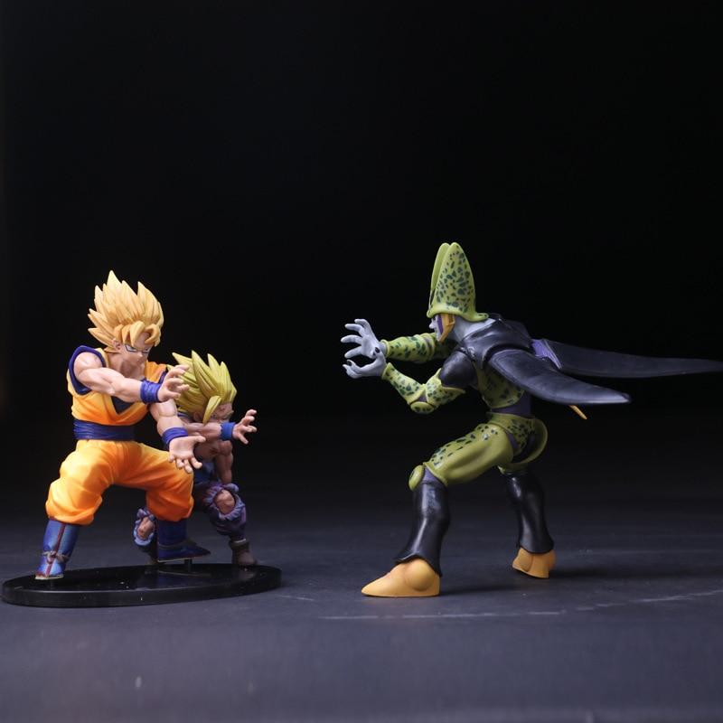 Dragon Ball Z Super Saiyan Goku Gohan Dragonball Figuras de Ação com Base Celular Figuras PVC Brinquedos Para As Crianças 13-17 cm