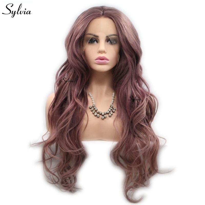 Sylvia, цвет металлик, фиолетовый, розовый, коричневый, натуральные волнистые парики, синтетический парик, кружевные передние парики, термосто...