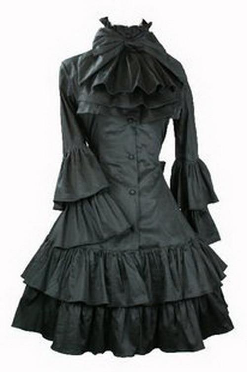 Vestido Lolita gótico con manga de mariposa y ornamento del cuello L15