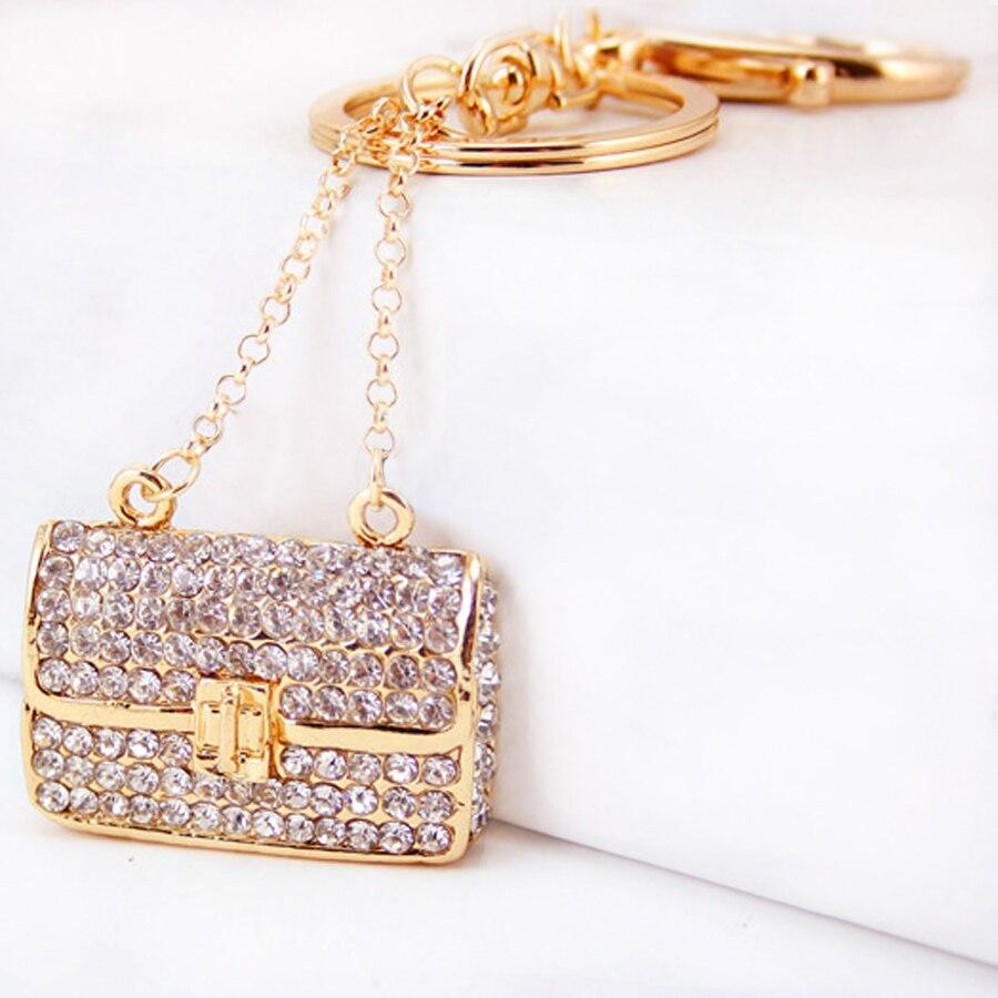 5 piezas bolso de diamantes de imitación llavero bolsa de cristal llaveros anillo soporte encanto coche Keyfobs joyería creativa regalo al por mayor R134
