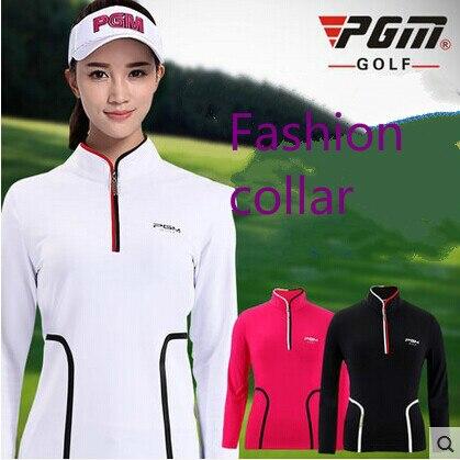 PGM primavera y otoño, ropa de golf para mujeres, camiseta de manga larga con cuello levantado deportivo para mujeres, camisas de Golf elásticas ajustadas transpirables