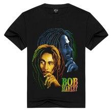 Gli uomini/Donne 100% cotone Bob marley t-shirt Rock t shirt Estate casual maglietta Degli Uomini Solido Nero hip hop Degli Uomini parti superiori allentate t-shirt