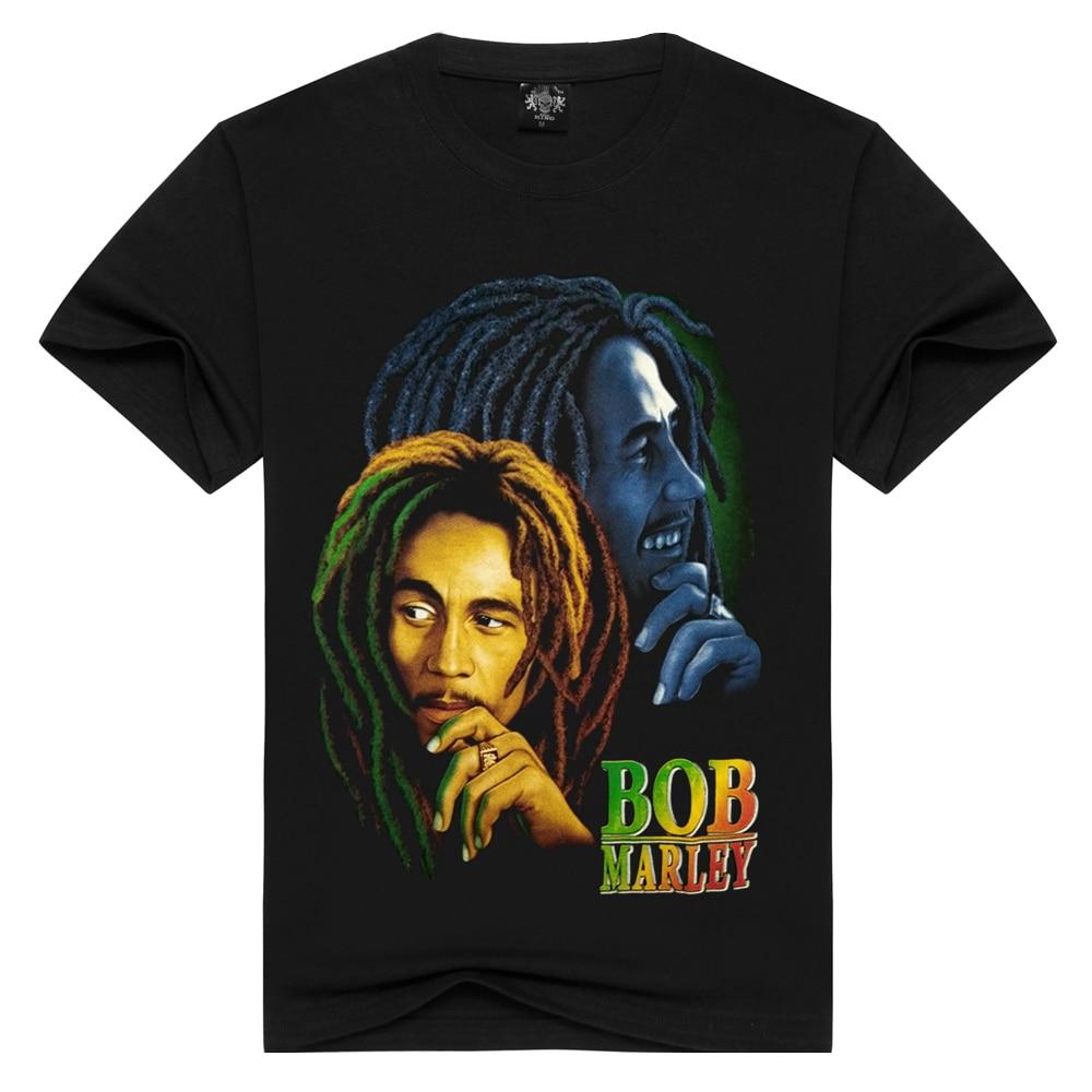 Men/Women 100% cotton Bob marley T-shirt Rock t shirt Summer Casual tshirt Men Solid Black hip hop Men tops loose t-shirts