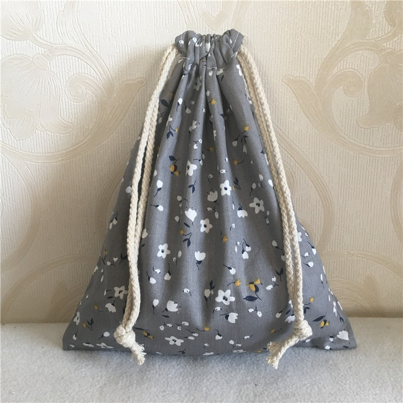 YILE algodón sarga cordón neceser de viaje bolsa de regalo para fiestas estampado Mini flor gris 8705D