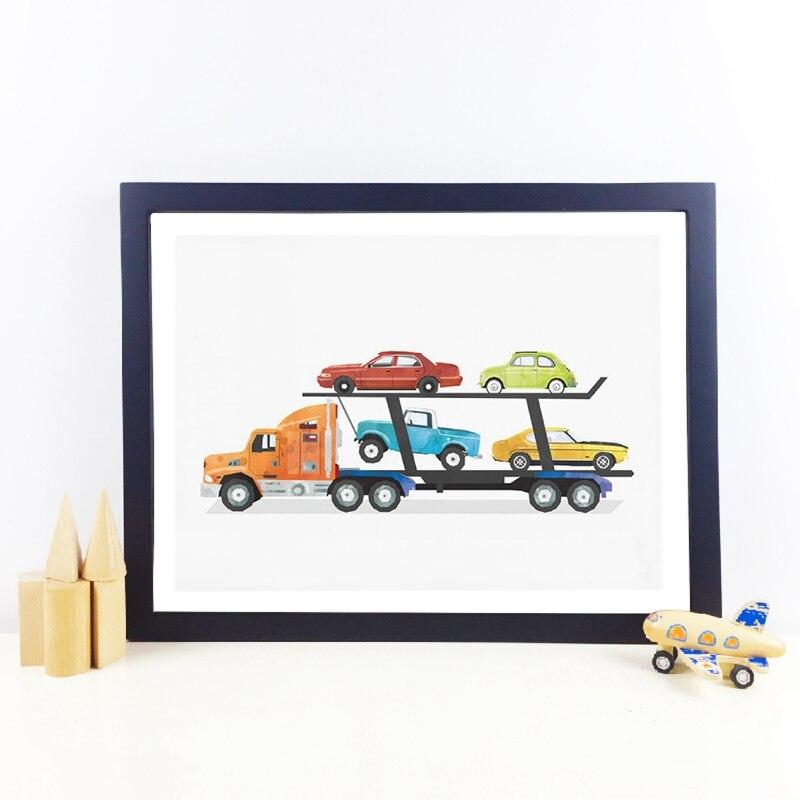 Imagen de pintura de arte para transporte de coches o camiones, decoración de pared de habitación para niños y chicos, impresiones artísticas para fiestas en semicamión, póster para dormitorio de niños
