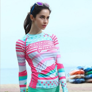 Рубашка для серфинга SABOLAY Rashguard, быстросохнущая эластичная юбка, женская пляжная одежда, костюм с принтом медузы и солнца