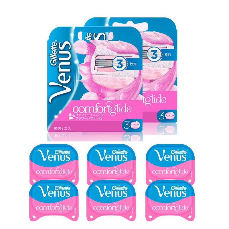 Cuchillas Gillette Venus para mujer, Comfortglide, afeitadora perfumada, recargas de cuchillas, removedor de pelo Lady Biniki, cuchillas de afeitar, 6 uds