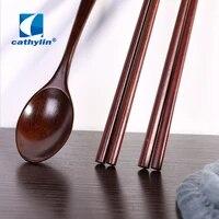 cathylin bamboo cutlery set 3 pcs reusable wooden travel spoon chopsticks flatware dinnerware set cooking kitchen tool ot0012