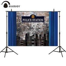 Arrière-plan de photographie Allenjoy poste de police thème fête brique mur ville arrière-plan photocall studio photoshoot portrait