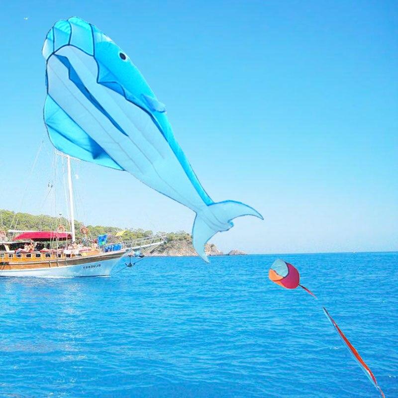 Cometas de juguete para deportes al aire libre delfines voladores 3D Gran Delfín mosca cometa parapente suave azul gigante cometa fácil de volar deporte paracaídas