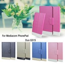 5 couleurs chaudes! Mediacom PhonePad Duo G515 coque de téléphone en cuir couverture, usine directe de luxe complet Flip Stand en cuir coques de téléphone
