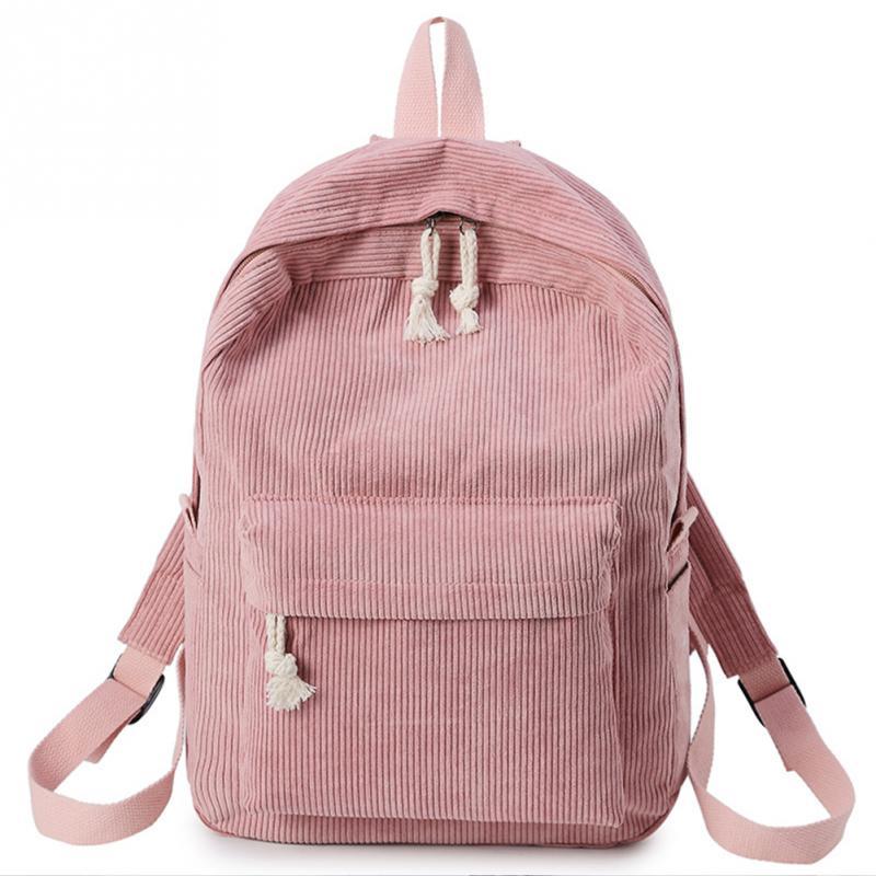 Novedad de 2019, mochila de terciopelo para mujer y niña, bandolera doble de gran capacidad, ligera, con cremallera, para estudiantes, para otoño e invierno # H912