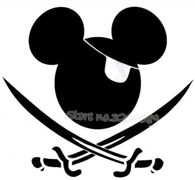 De dibujos animados de dibujos animados Mickey Mouse pirata Adhesivo de pared para niño juguete de etiqueta engomada del coche ventana de camión cubierta de vinilo para coche etiqueta arte EA582