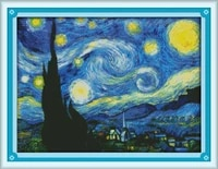 the starry night of van gogh printed canvas dmc counted chinese cross stitch kits printed cross stitch set embroidery needlework
