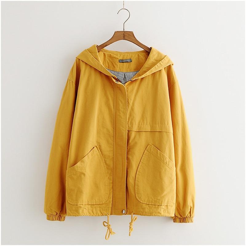 Chaqueta negra de Otoño de Harajuku, abrigo de mujer, abrigo coreano de talla grande, Abrigo con capucha de corta con capucha, chaqueta amarilla para mujer, ropa de calle de manga larga para mujer