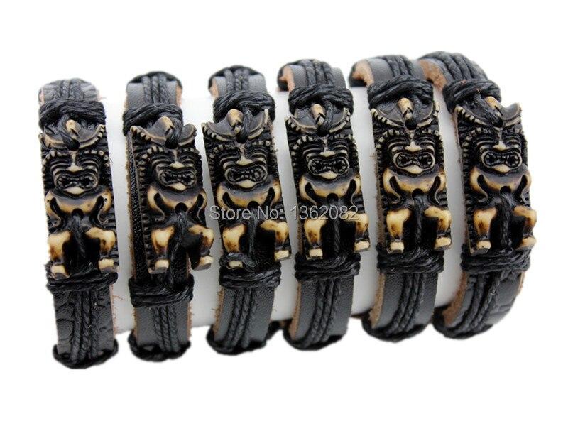 Venta al por mayor lote 12 piezas cordón ajustable Maori Tiki Totem cuero pulsera brazalete regalo MB79