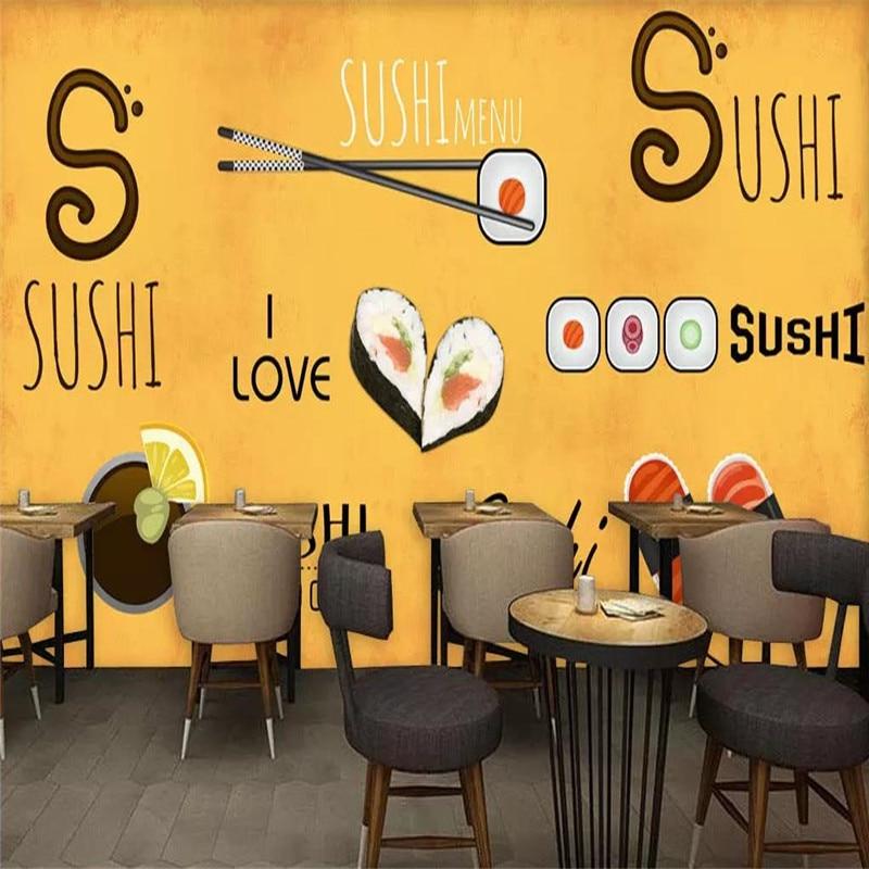 Custom wallpaper hand-painted Japanese restaurant sushi restaurant background decorative wall advanced waterproof material