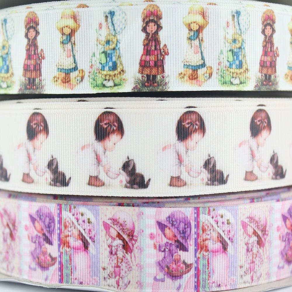 """1 """"Menina impressos fita de gorgorão 25mm dos desenhos animados caráter estampados fitas de embrulho DIY arcos de cabelo banda 10/20 metros"""