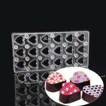 Feuille de chocolat en plastique dur   En forme de cœur avec miroir, Polycarbonate magnétique transparent, transfert daimant, moule fait main facile à utiliser, moules