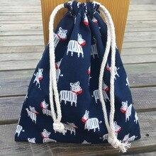 YILE 1pc Cotton Poplin Drawstring Organizer Bag Party Gift Bag Print Donkey Navy blue YL408f