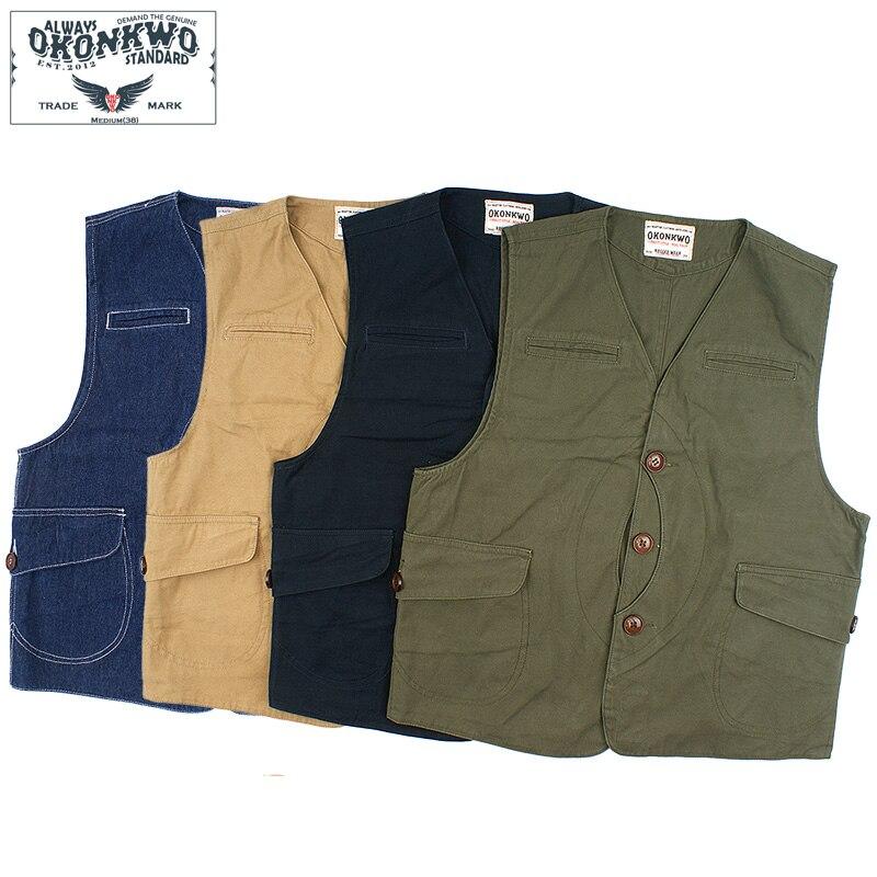 Chaleco de lona de bolsillo de juego Vintage, Chaleco de caza y pesca al aire libre, chaqueta para hombres de cuatro colores