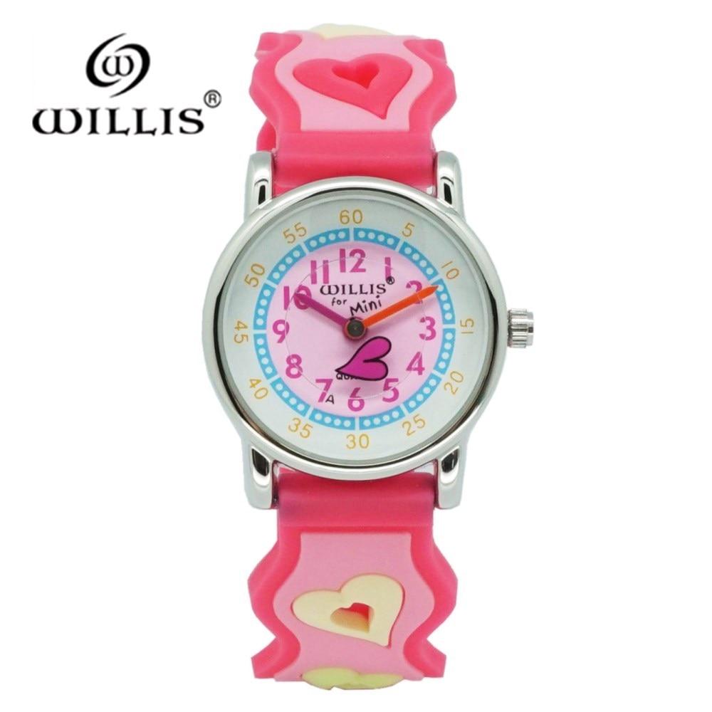 WILLIS moda amor dibujos animados relojes chico niñas a prueba de agua reloj de pulsera niños de cuarzo de relojes lindo reloj Relogio femenino