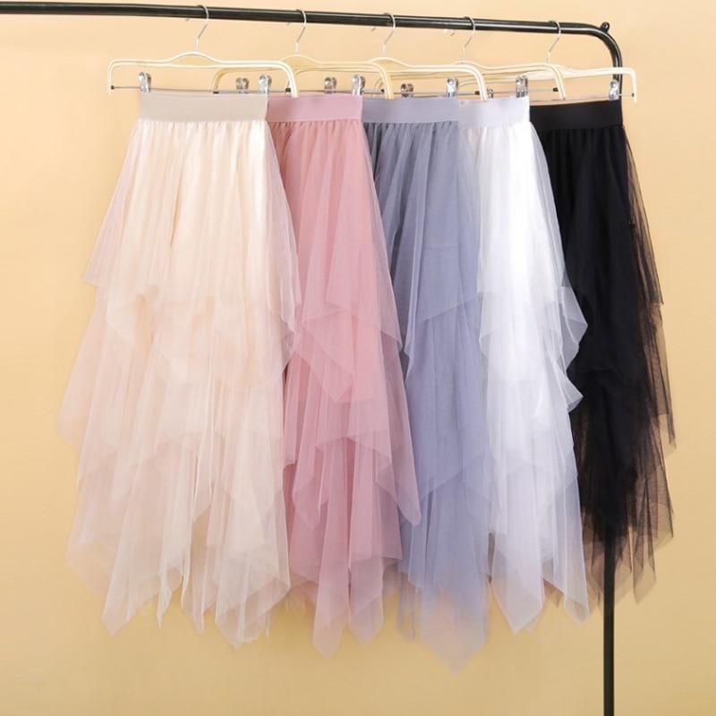 Mujeres irregular tul falda de moda elástico cintura alta falda tutú de red plisado largo Faldas Midi falda párr tallas grandes Faldas Jupe Femmle