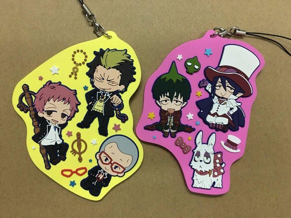 Original figura de anime japonés Ao no exorcista Okumura Rin goma silicona dulce olor llaveros móviles con encantos Correa