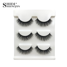 SHIDISHANGPIN 1box 3d mink eyelashes natural long 3 pairs false eyelashes hand made mink lashes eyelash extension make up X25