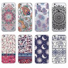 Para o iphone 11 Pro 7 7Plus 6 6S 8 8Plus X XS Max Boho Indiano Floral Lótus elefante Paisley Tribal Caso Soft Phone Fundas Coque