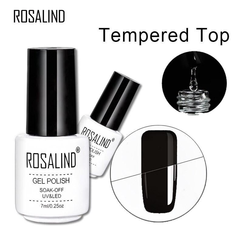 ROSALIND 7 мл закаленное верхнее покрытие гелевое стекло яркое анти-гель лак для ногтей Дизайн ногтей длительное впитывание УФ светодиодный гел...