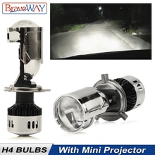 BraveWay H4 Mini Bi светодиодный объектив для проектора, фара для мотоцикла, авто лампа, светодиодный фонарь, 12 В, дальний свет, ближний свет, все в од...