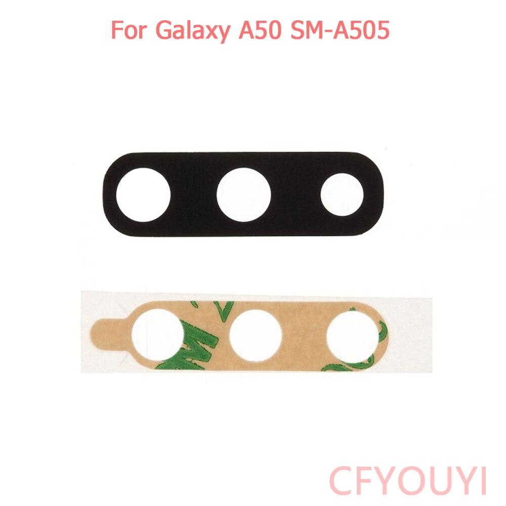 20 pçs/lote Para Samsung Galaxy A50 A505 Voltar Rear Camera Lens Capa Com Etiqueta Adesiva Cola