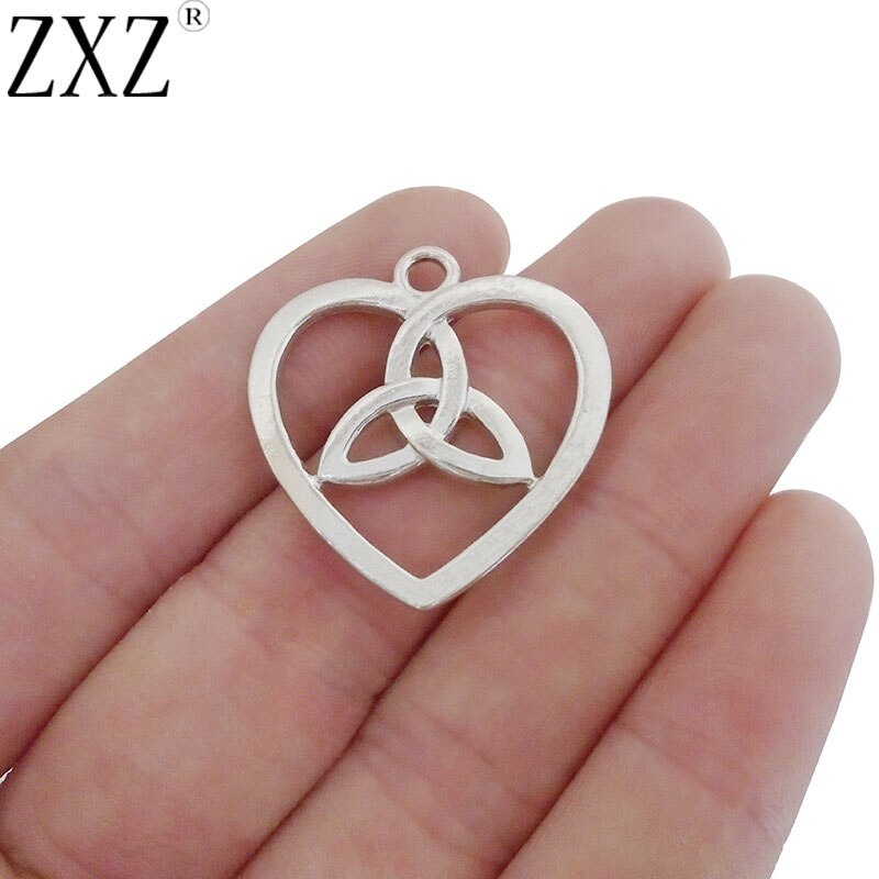 Zxz 20 pçs aberto coração nó keltic trinity triquetra encantos pingentes dupla face para colar fazendo descobertas