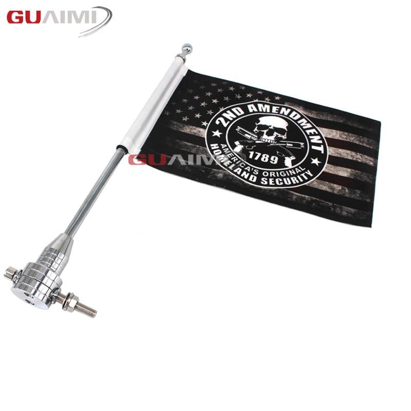 Para Harley Touring Road King Glide y flht cromo motocicleta CNC aluminio montaje lateral trasero equipaje Rack asta vertical de bandera