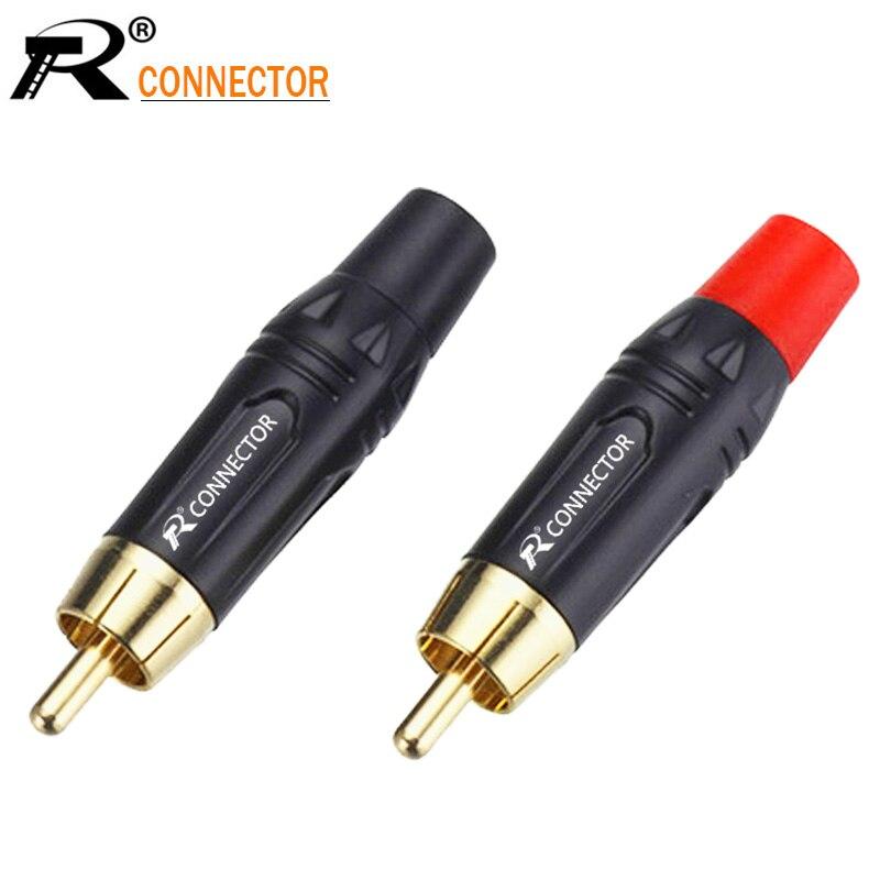 100 pcs/50 pares Terminais de Cobre RCA Plug Banhado A Ouro Plugue de Áudio e Vídeo Adaptador Conectores de Fios De Solda