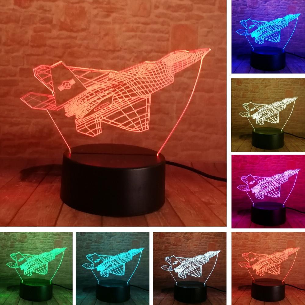 Подарки для мальчиков, 3D самолет, военный самолет, боец, 7 цветов, Lampara, ночные светильники, настольная лампа, Led военный самолет, домашний деко...