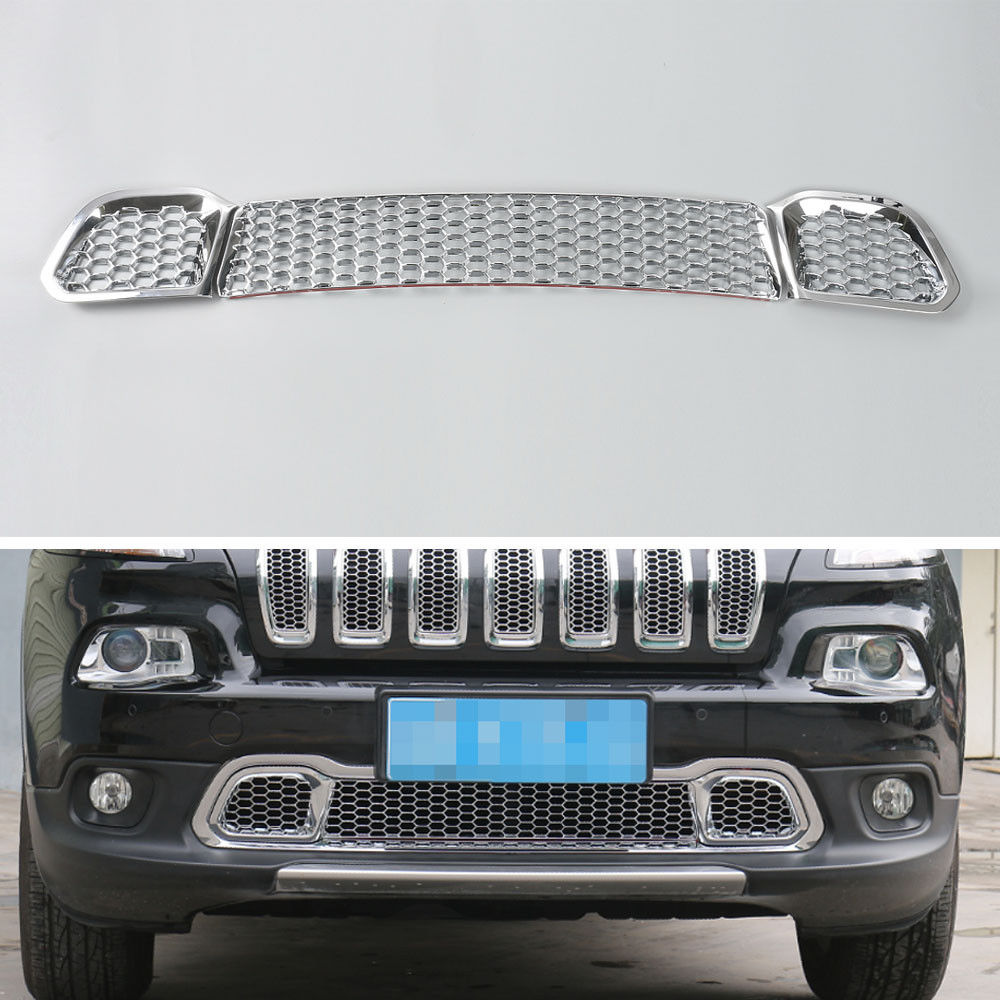 Auto Chrome ABS Frente Capa Grill Malha Insert Bumper Grille Capa Guarnição Exterior Car Styling Molduras Para Jeep Cherokee 2014-2016